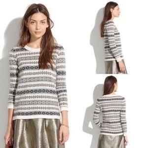 Madewell 100% Merino Wool Fair Isle Crewneck Sweater Sz M